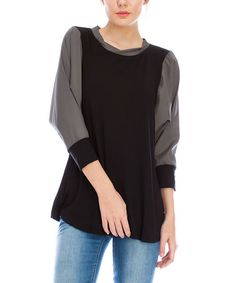 Another great find on #zulily! Black Contrast Puff-Sleeve Tunic by Saint Paradise, $20 !!  #zulilyfinds