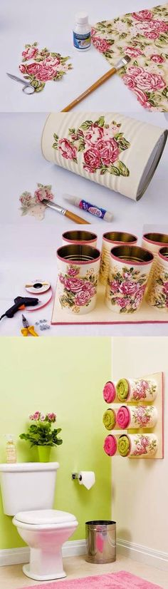 idea of ​​recycling tin can, tutorial to create a towel holder in the bathroom from customized cans with flowers, decoupage technique, easy decoration Loading. Tin Can Crafts, Fun Crafts, Diy And Crafts, Arts And Crafts, Soup Can Crafts, Wooden Crafts, Diy Projects To Try, Craft Projects, Simple Projects