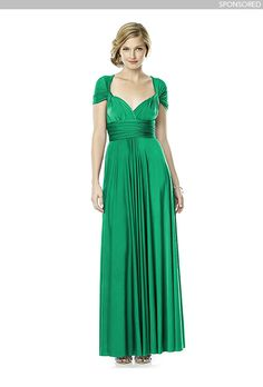 Brides.com: Elegant Emerald Bridesmaid Dresses Sponsored: Twist wrap dress (long), $180, DessyPhoto: Courtesy of Dessy