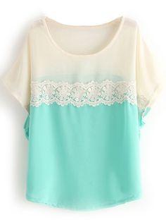 Short Sleeve Lace Chiffon Blouse