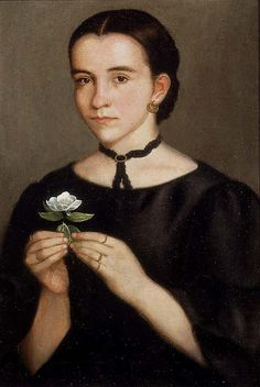 Portrait of Dolores Hollos (1864) by Mexican Painter Hermenegildo Bustos (1832 - 1907) -