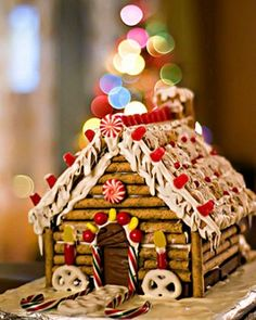 hmmm a log cabin out of chocolate wafer sticks instead of gingerbread! I don't like gingerbread!