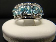 SOLID 925 STERLING SILVER BLUE & WHITE ZIRCON RING BAND CZ ACCENTS 5g SIZE 6.25