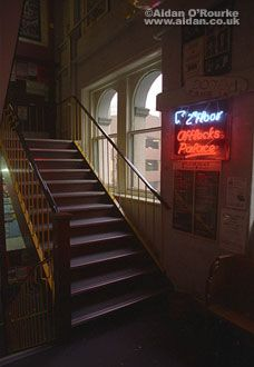 Manchester Afflecks Palace stairs and neon sign