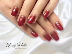 Red nails with gold glitter by Foxy)))