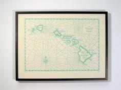 Hawaiian Islands, Letterpress printed Map (Aqua). $45.00, via Etsy.