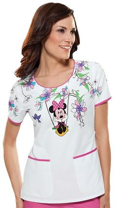 Cherokee Tooniforms Swinging Minnie Scoop Neck Scrub Top: