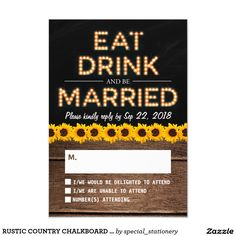 RUSTIC COUNTRY CHALKBOARD WEDDING RSVP SUNFLOWERS