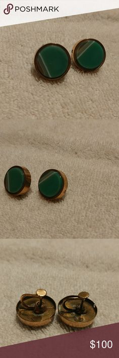 077893c65a Vintage Women s Earring Green Agate 12K Gold GF Set of vintage earrings  made of round green