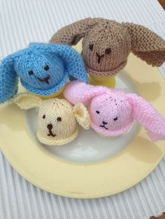 Easter Bunny egg cosies, try out different yarns & colours. Will try and add the pattern too.