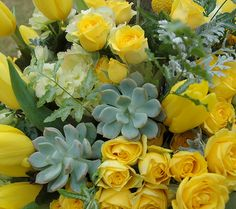 yellow arrangement closeup
