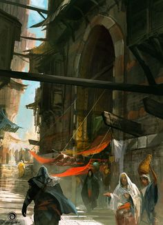 View an image titled 'Constantinople Market Art' in our Assassin's Creed: Revelations art gallery featuring official character designs, concept art, and promo pictures. Fantasy City, Fantasy Places, Fantasy Village, Final Fantasy, Arte Assassins Creed, Dragons, Throne Of Glass Series, Samurai Jack, Digital Paintings