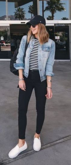 casual outfit with a denim jacket: pocket striped top .- lässiges outfit mit einer jeansjacke: tasche gestreiftes top schwarze skinny je… casual outfit with a denim jacket: pocket striped top black skinny jeans sneakers – - Teen Fashion Outfits, Mode Outfits, Look Fashion, Trendy Fashion, Fall Outfits, Fashion Ideas, Womens Fashion, Fall Fashion, Fashion Styles