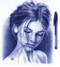 Portrait Illustration Ballpoint pen portrait by Sonia Davel. Biro Art, Ballpoint Pen Drawing, Pen Sketch, Art Sketches, Ballpen Drawing, Stylo Art, Pen Illustration, Portrait Illustration, Wow Art