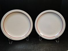 TWO Syracuse China Cardinal Lines Dinner Plates 9 Restaurant Ware Set of 2 Red Dinner Plates, Syracuse China, Restaurant, Restaurants, Dining Rooms