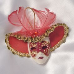Miniature Venetian Mask Ornament Red