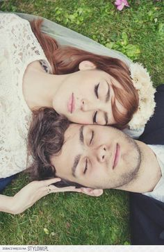 Laying on grass with eyes closed | Wedding photo idea
