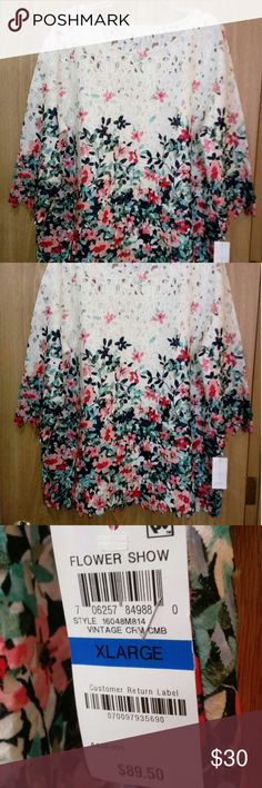 NWT! Charter Club - Cream top with a floral print Comes with a camisole underneath to prevent see-through. Beautiful top! Charter Club Tops Blouses