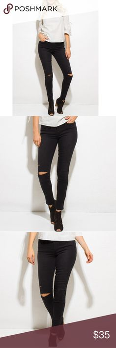 LAST PAIR💟DISTRESSED BLACK JEANS These mid-rise ripped knee skinnys are made to be your go to item. They go with everything from tees, crop tops, blouses and tunics to sweaters and blazers! Curve hugging yet comfortable with stretch. They're timeless and effortlessly stylish for work, school and nightlife! Front and back pockets, zip & button closure. 96% cotton, 4% spandex. The fit is amazing! I'm wearing the 32 in the photos and they're flexible without feeling constricted. Very…