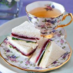 Turkey, ham, cranberry & arugula tea sandwiches with Tea