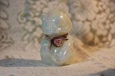 Vintage Fenton Glass Opalene Hand Painted Bear. Starting at $20