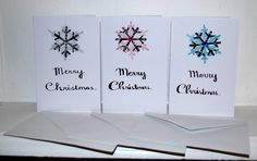 Handmade Black Snowflake Handwritten Merry Christmas Card Pack of 4 by HomeandaFarr on Etsy Christmas Card Packs, Merry Christmas Card, Christmas 2016, Snowflakes, Arts And Crafts, Handmade, Etsy, Black, Hand Made