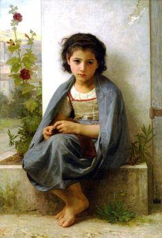La tricoteuse-William Adolphe Bouguereau (1825 – 1905, French)