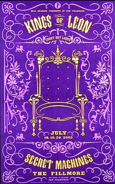 Original concert poster for Kings Of Leon / Secret Machines at the Fillmore in San Francisco, CA. 12