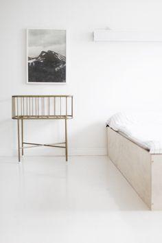 Bedroom - DIY plywood bed, vintage crib, Ellos bedsheets, Up-poster by Fine little day - Varpunen