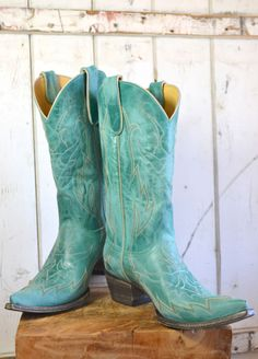 cowgirl boots in turquoise