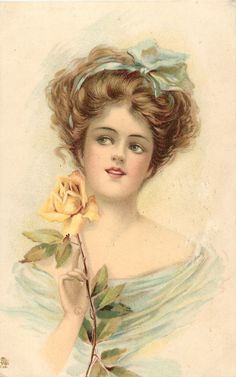 Raphael Tuck & Sons —  Beauty   holds yellow rose, 1914   (999x1596)