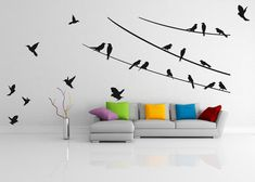 Wall decal Birds on the ropes 01, is a nice and easy way to decorate your home.  *SIZE:* 210 cm x 108 cm including flying birds, small birds ok: 14 cm x 14 cm, large birds ok: 20 cm x 20 cm or 110 cm x 57 cm including flying birds, small birds ok: 7 cm x 7 cm, large birds ok: 10 cm x 10 cm  Easy application stickers - 15 minutes. For each order include installation instructions. We used only high quality matt vinyl. You can apply this decal on walls, glass, metal, furniture and other smooth…