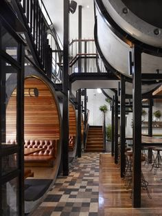 Australian architecture studio Techne has recently completed the second stage of Prahran Hotel transformation. A stack of 17 oversize concrete pipes makes up the façade of this new extension that houses the new bar of the hotel.