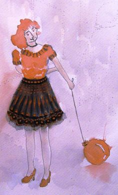Girl with balloon Original One of a kind by TremblingRhymes Orange Balloons, Its A Girl Balloons, Orange Art, Orange Shoes, Fantasy Women, Watercolour Painting, Original Paintings, Sky, The Originals