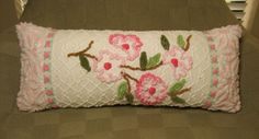 Vintage Chenille Shabby Chic Pillow Pink Dogwood Rosebud and Daisy Oblong