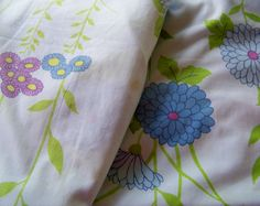 Vintage Modern Marigold Blue Purple Floral Fitted Full Sheet Cutter by THLvintage on Etsy https://www.etsy.com/listing/448804814/vintage-modern-marigold-blue-purple