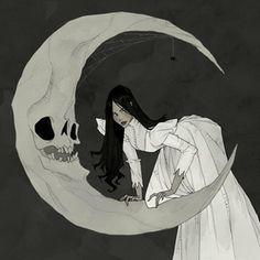 Victorian Gothic art by Abigail Larson Fantasy Kunst, Dark Fantasy Art, Dark Gothic Art, Art And Illustration, Abigail Larson, Witch Art, Creepy Art, Moon Art, Moon Moon