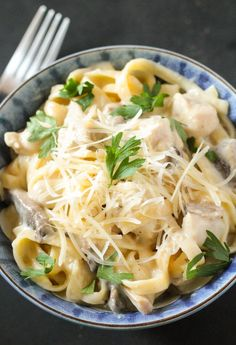 One Pot Chicken & Mushroom Linguine Tetrazzini. It's an easy, but flavorful recipe that is made in just one pot with a handful of ingredients. A perfect dinner!