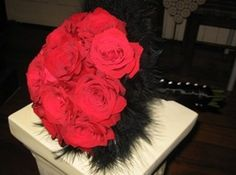 Wedding bouquet - columbian roses & feathers