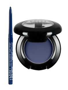 NYX Retractable Eye Liner in Deep Blue, NYX Nude Matte Shadow in In the Buff