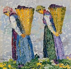 Zwei junge Bäuerinnen mit Rückentragkorb, Augusto Giacometti. Swiss (1877 - 1947)
