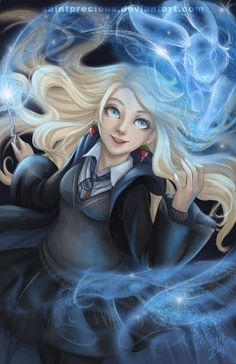 This is Luna Lovegood. Her house is Ravenclaw who only take in smart and thoughtful people. Harry Potter World, Fanart Harry Potter, Images Harry Potter, Wallpaper Harry Potter, Harry Potter Artwork, Mundo Harry Potter, Harry Potter Drawings, Harry Potter Characters, Harry Potter Universal