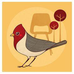 by Fernanda Sponchiado, via Flickr - #illustration #bird #woodpecker #tree #chair #moobil