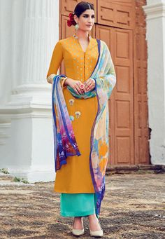 Embroidered Cotton Straight Cut Suit in Mustard