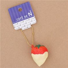 red strawberry with pale yellow sauce squishy cellphone charm - Squishies - kawaii shop modeS4u
