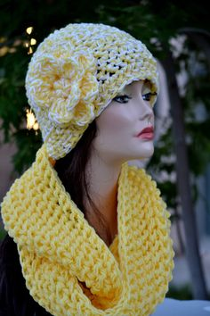 Hat and Scarf Set. Crochet Infinity Scarf and by Africancrab, $35.00