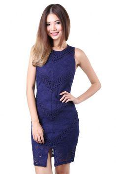 Charlotte Crochet Dress in Navy - MGP Charlotte, High Neck Dress, Navy, Tank Tops, Crochet, Dresses, Women, Fashion, Turtleneck Dress