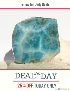 Today Only! 25% OFF this item. Follow us on Pinterest to be the first to see our exciting Daily Deals. Today's Product: Sale -  Dominican Turquoise Blue Larimar 80g Slab Marbled Free Form Display Lapidary Cabbing Pectolite Rough Raw Beach Atlanis Stone 400ct Buy now: https://orangetwig.com/shops/AABCLyV/campaigns/AAB7Jyn?cb=2016001&sn=MyBeachStore&ch=pin&crid=AAB7Jxv