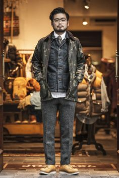 Such a strong look, Barbour jacket, Tellason paperboy jacket underneath, killer wool flannel trousers and a pair of Red Wing Moc oxfords.