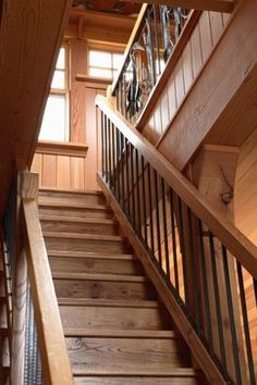 rustic natural wood stair rail with steel pipe spindles | For the ...